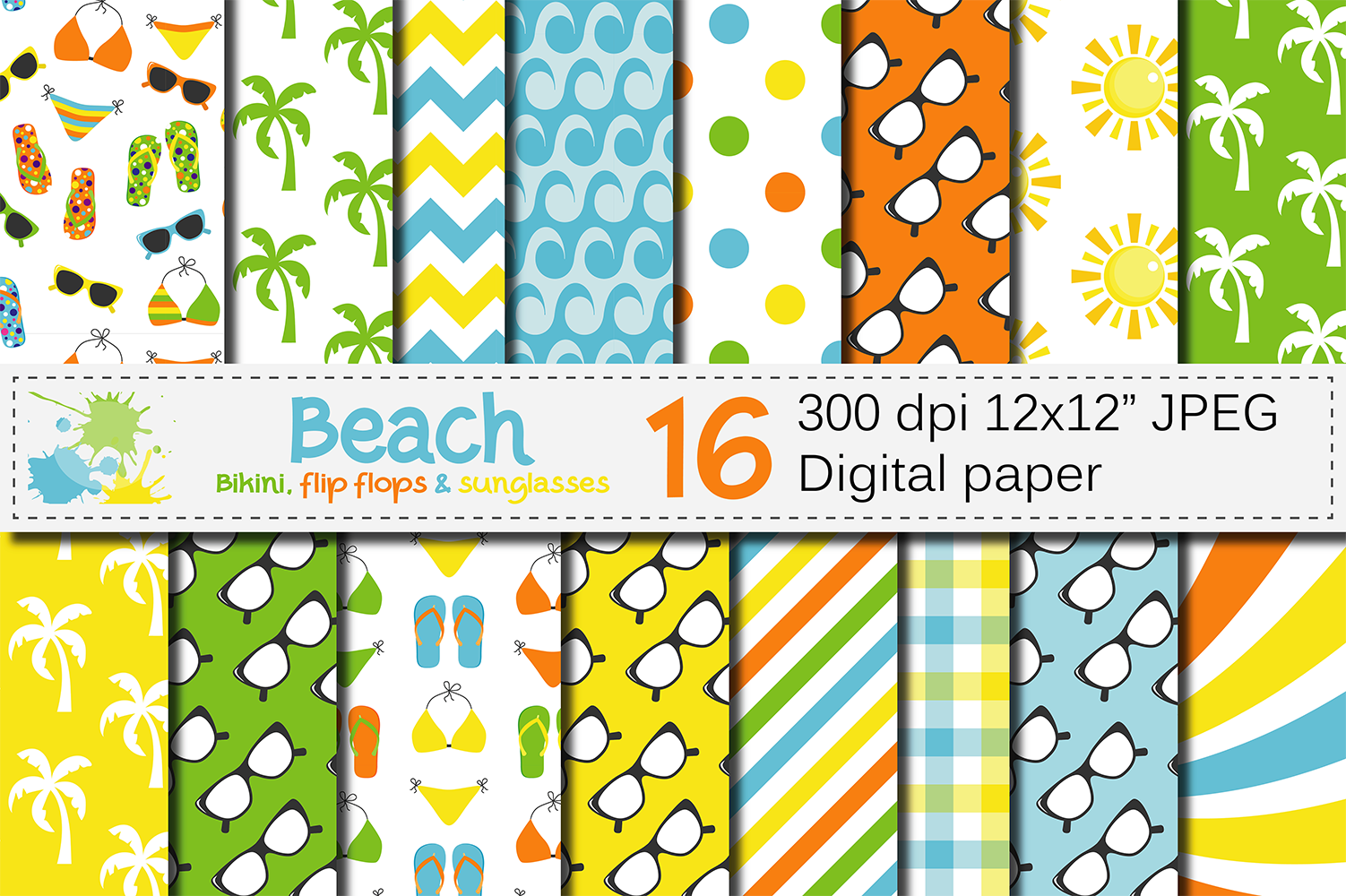 Beach Digital Paper Graphic Backgrounds By VR Digital Design