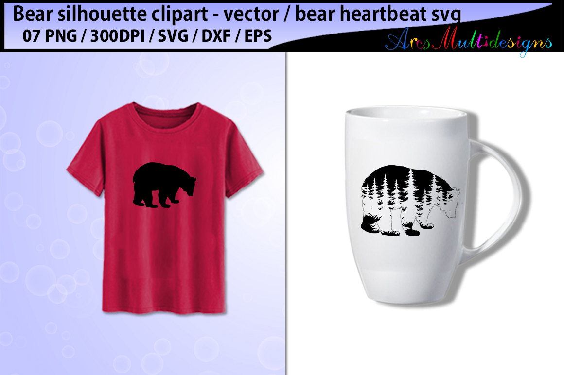 Print on Demand: Bear Silhouette Vector Graphic Illustrations By Arcs Multidesigns - Image 3