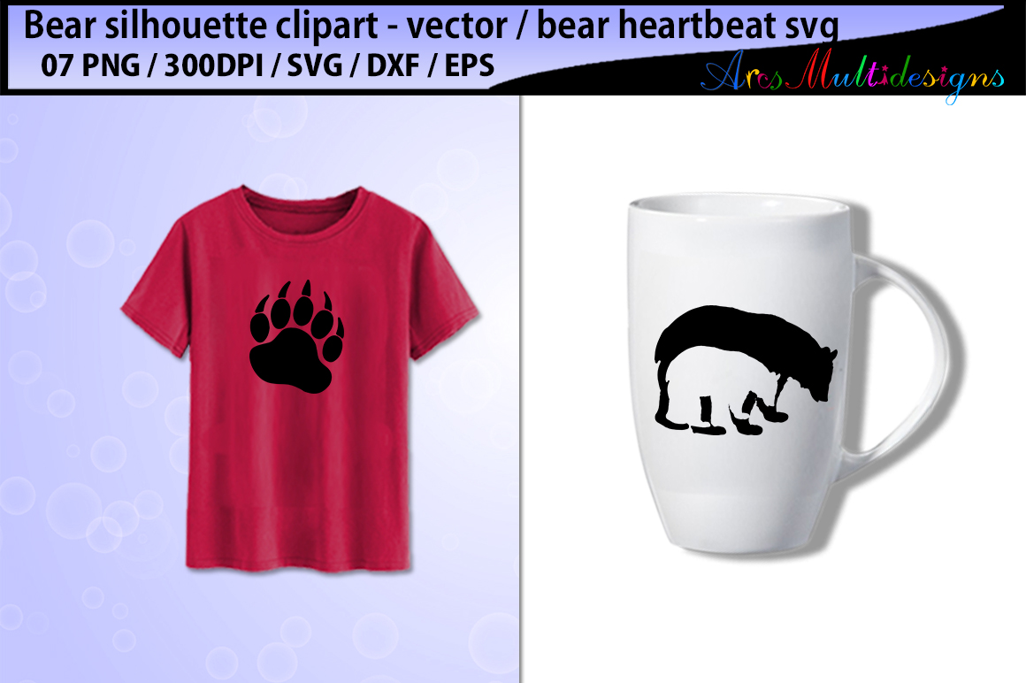Print on Demand: Bear Svg Silhouette Vector Graphic Illustrations By Arcs Multidesigns - Image 4
