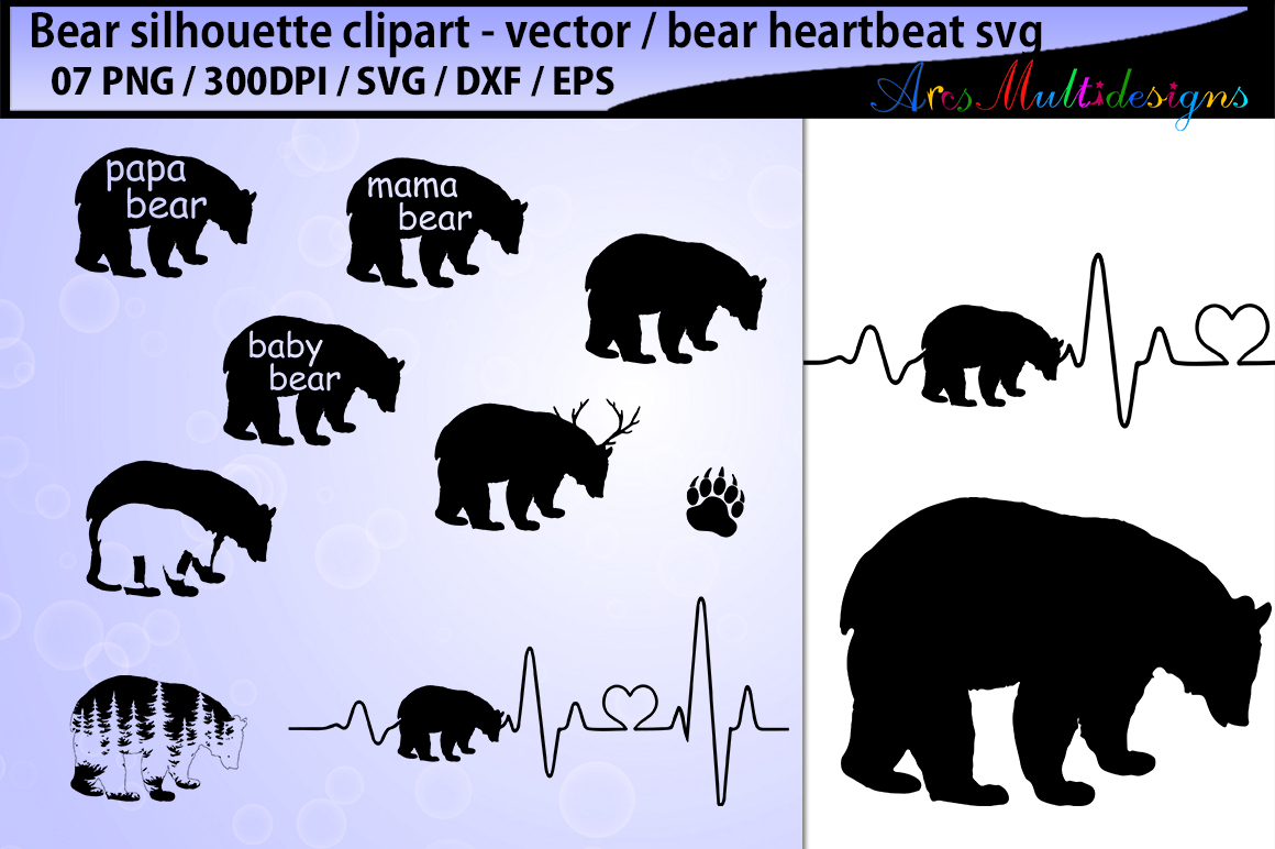 Print on Demand: Bear Svg Silhouette Vector Graphic Illustrations By Arcs Multidesigns - Image 1