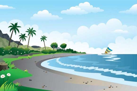 Beautiful Green Scenery Illustration Graphic Illustrations By emnazar2009