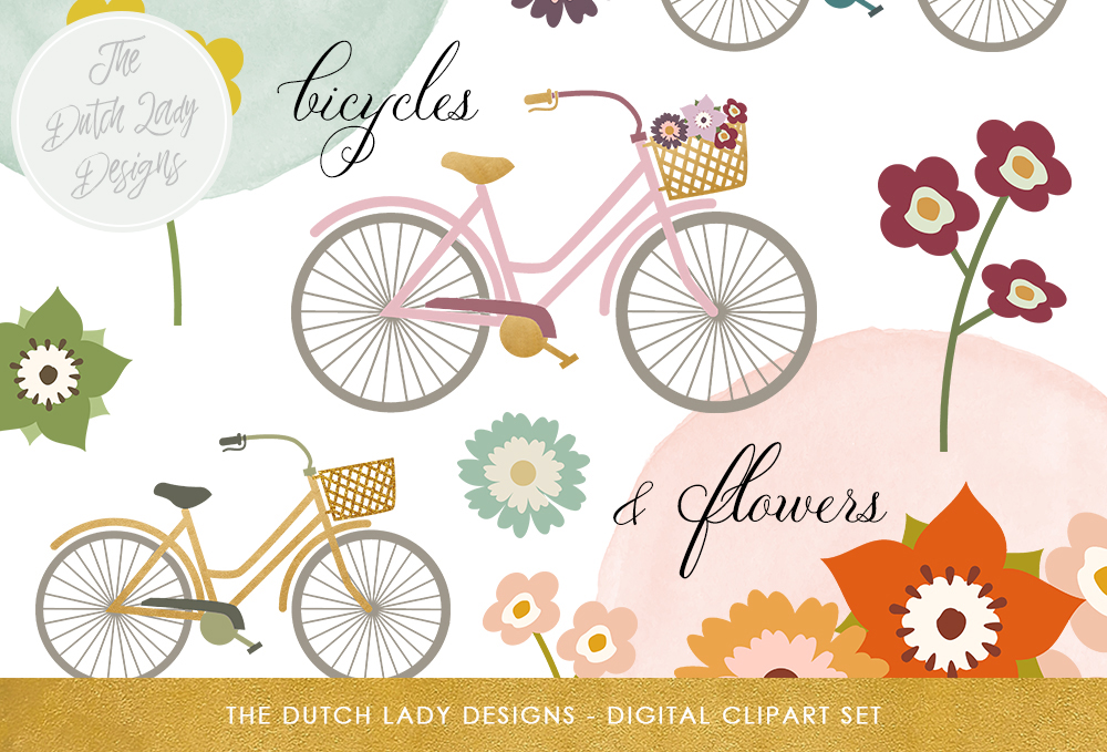 Print on Demand: Bicycles & Flowers Clipart Set - Bikes, Florals, Watercolor Circles with Touches of Gold Graphic Illustrations By daphnepopuliers