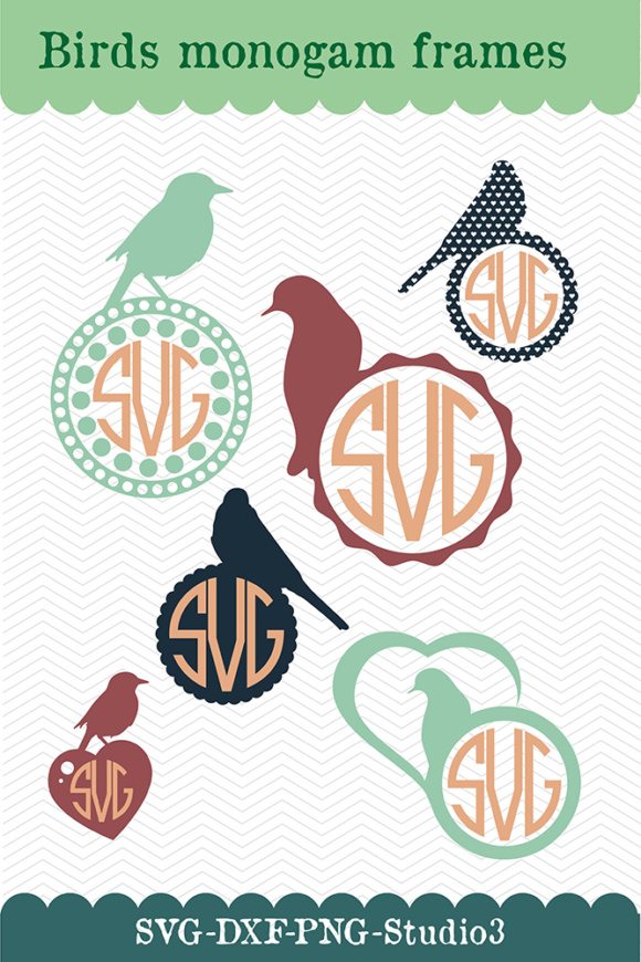 Download Free Monogram Frames Birds Designs Graphic By Vector City Skyline for Cricut Explore, Silhouette and other cutting machines.