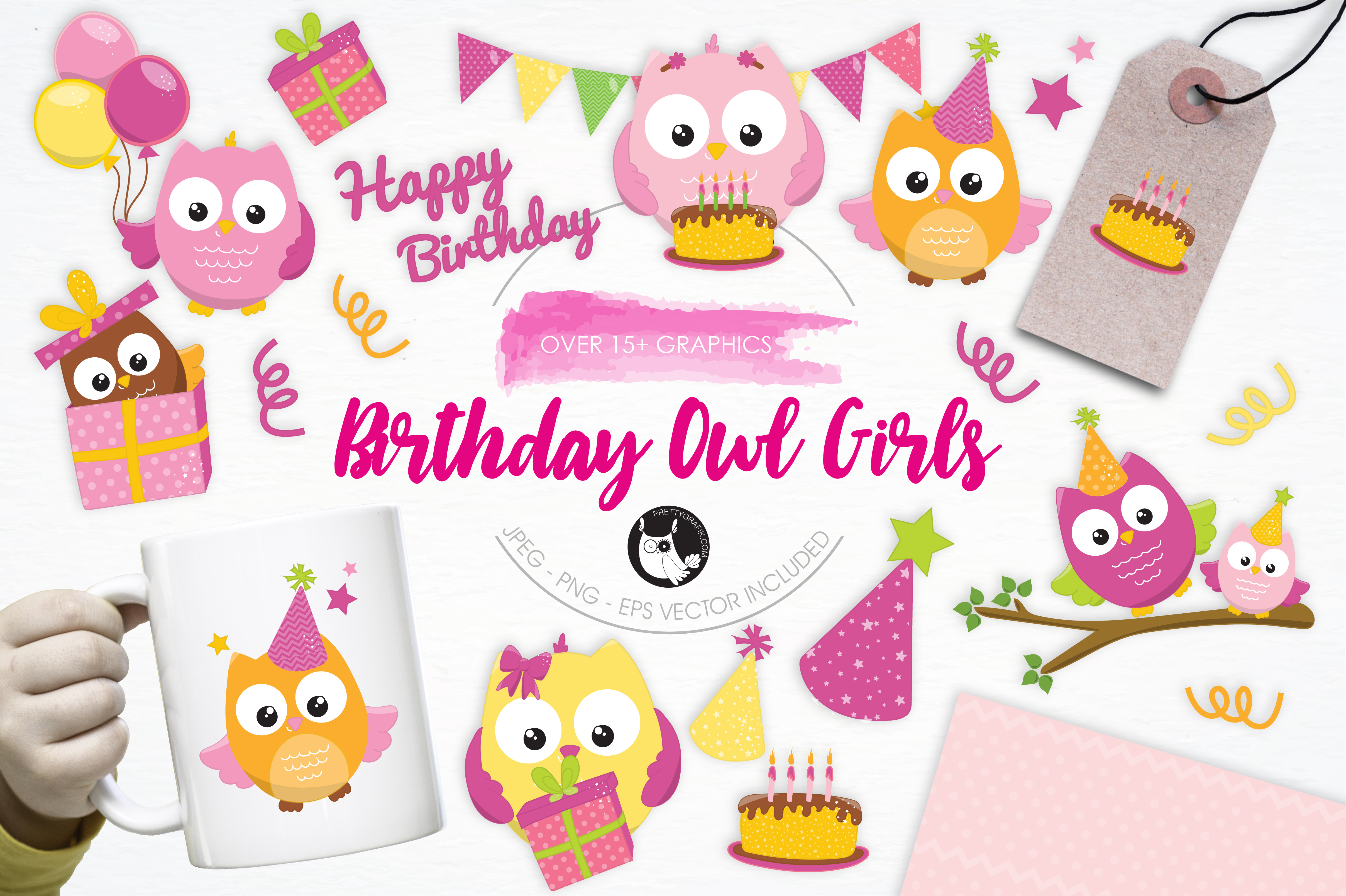 Download Free Birthday Owl Girls Graphic By Prettygrafik Creative Fabrica for Cricut Explore, Silhouette and other cutting machines.