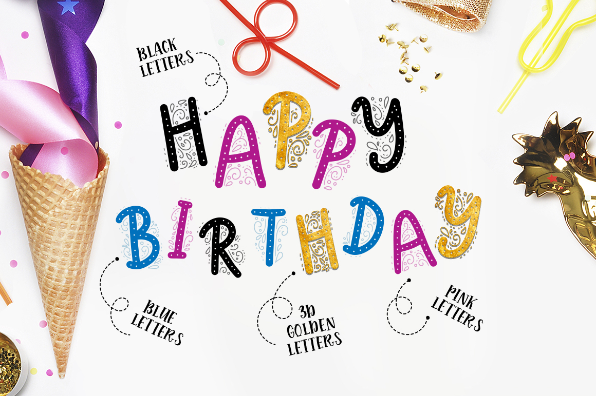 Print on Demand: Birthday Party. Big Graphic Set. Graphic Illustrations By Red Ink - Image 2