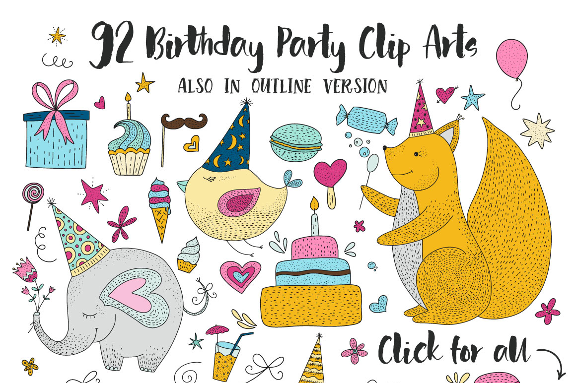 Print on Demand: Birthday Party. Big Graphic Set. Graphic Illustrations By Red Ink - Image 9