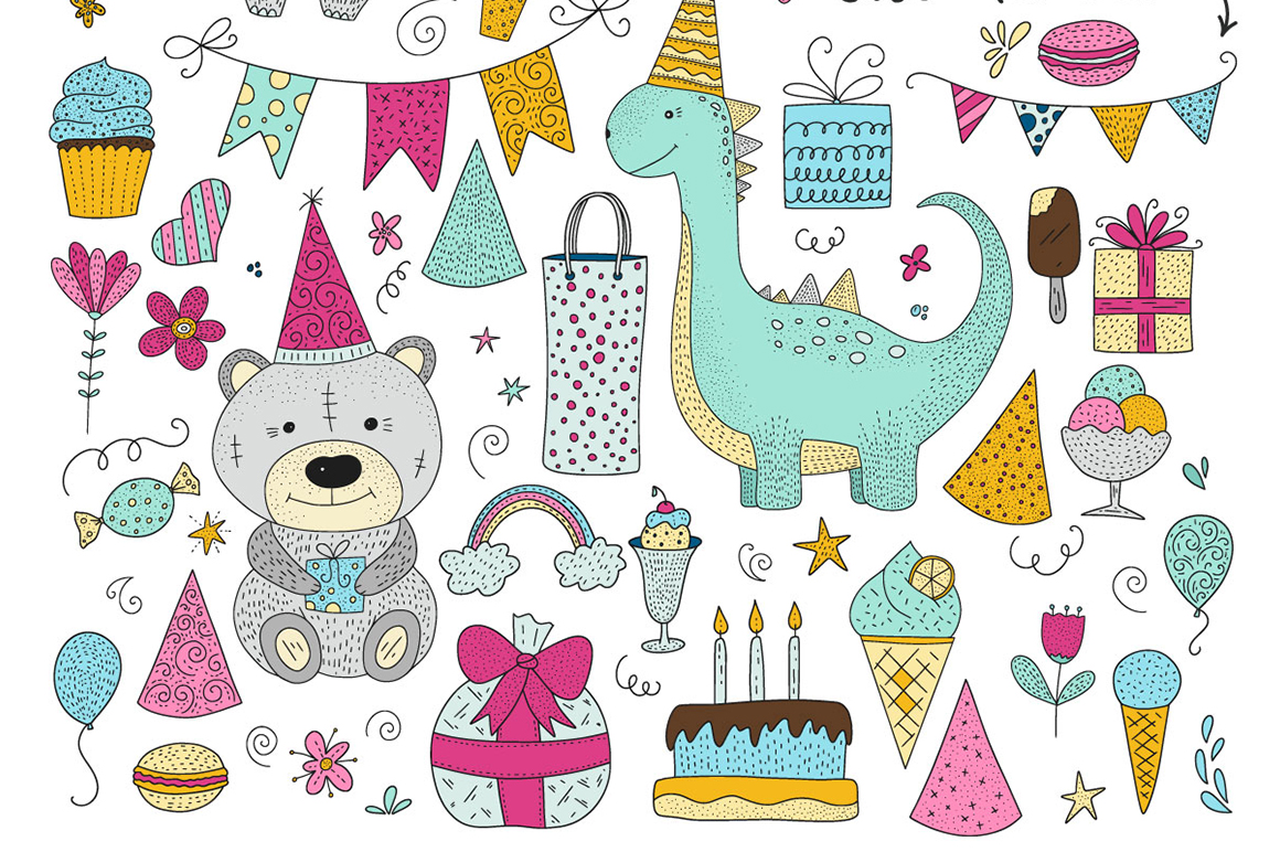 Print on Demand: Birthday Party. Big Graphic Set. Graphic Illustrations By Red Ink - Image 10