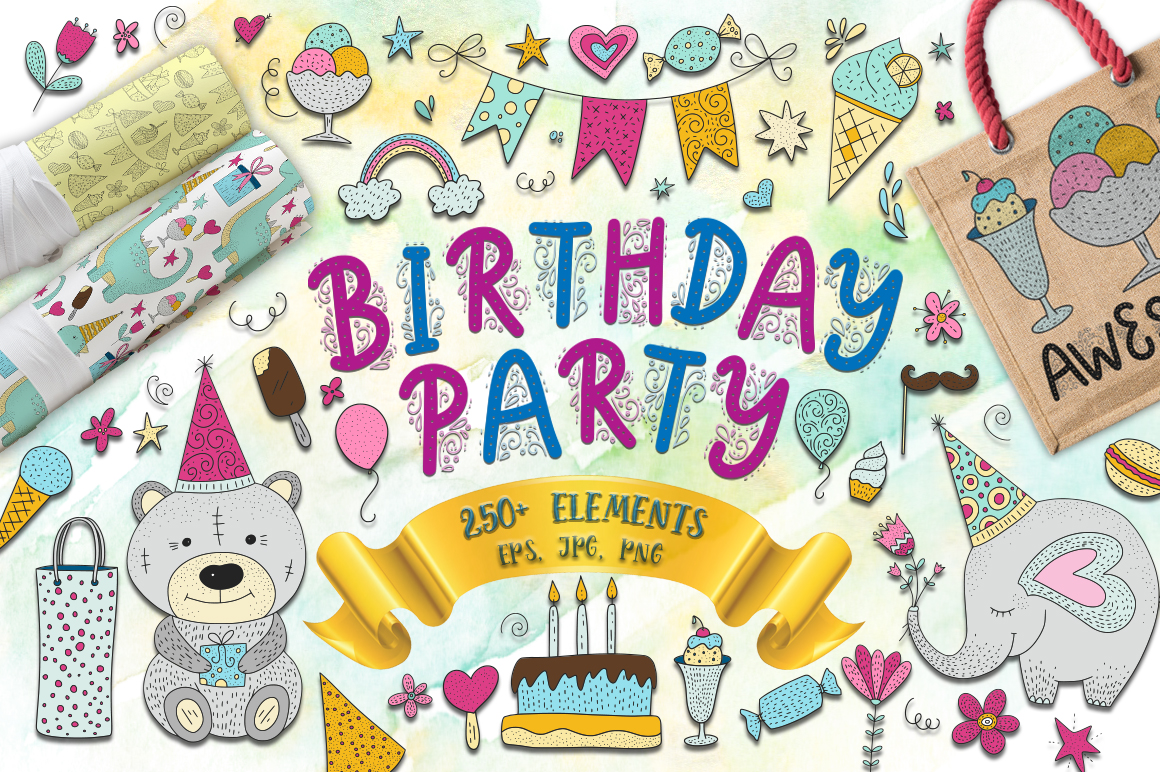 Print on Demand: Birthday Party. Big Graphic Set. Graphic Illustrations By Red Ink