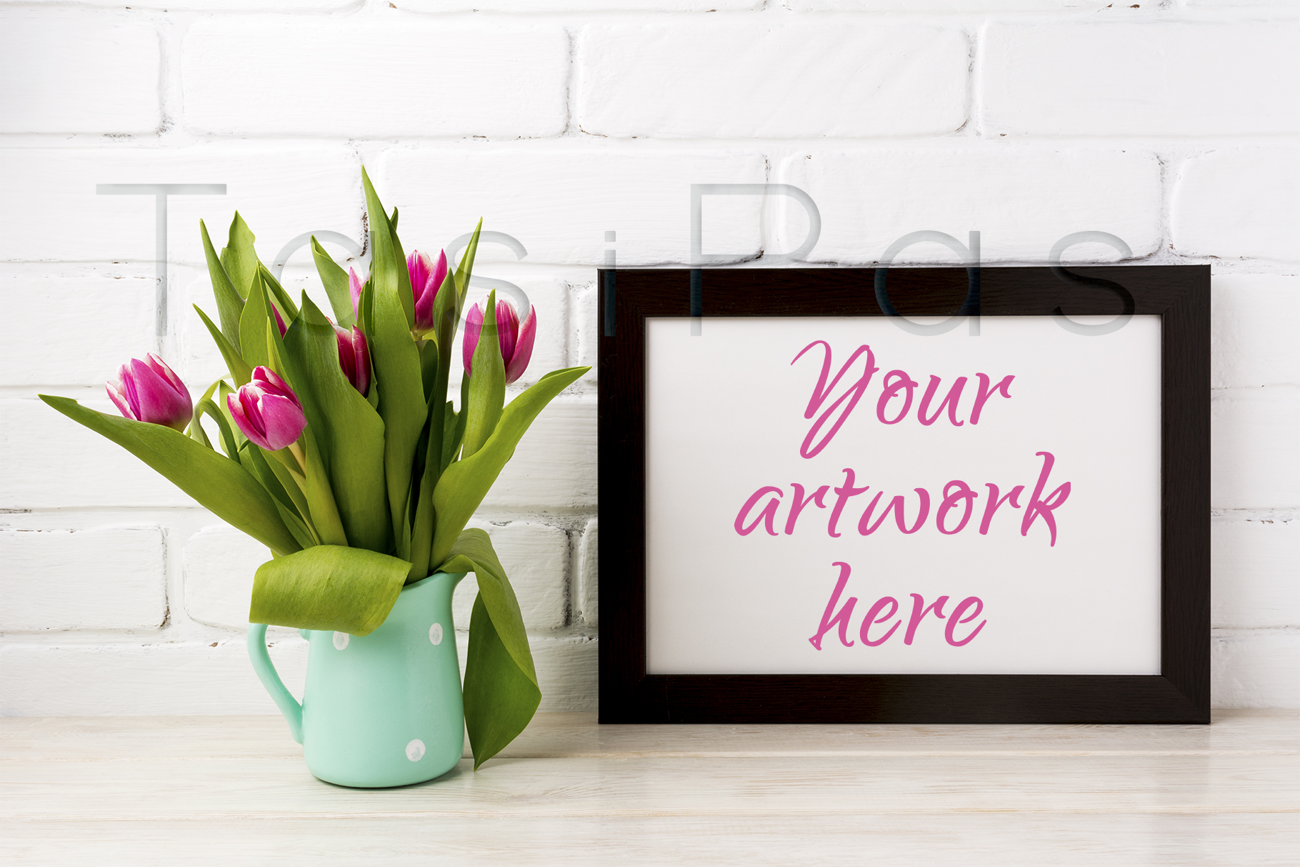 Print on Demand: Black Brown  Landscape Frame Mockup with Magenta Tulips in Mint Green Pitcher. Graphic Product Mockups By TasiPas