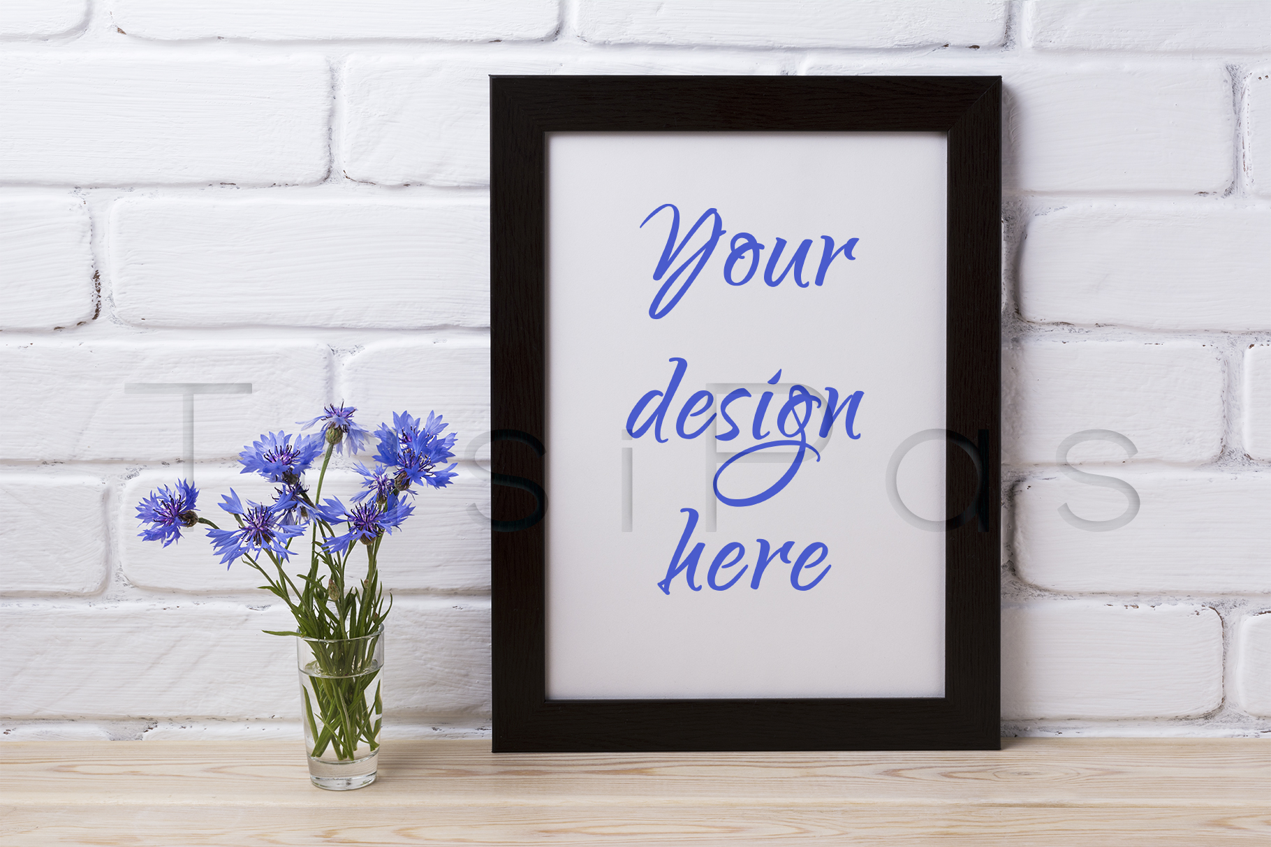 Print on Demand: Black Brown Poster Frame Mockup with Cornflower Graphic Product Mockups By TasiPas - Image 1