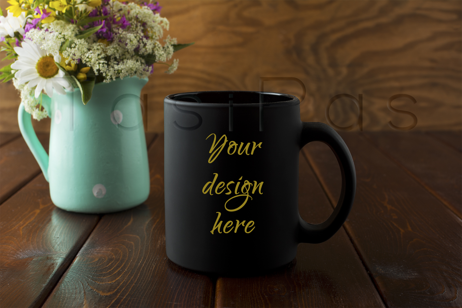Download Free Black Coffee Mug Rustic Mockup With Wildflowers In Mint Green Vase for Cricut Explore, Silhouette and other cutting machines.