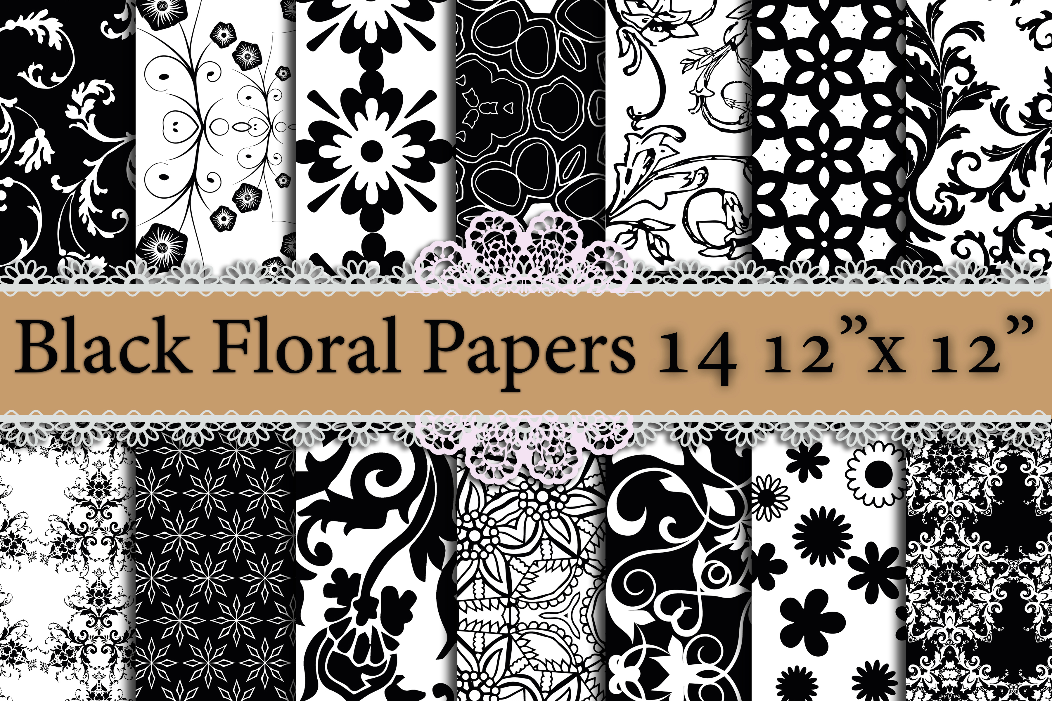 Black Floral Digital Papers,FLORAL DIGITAL PAPER,Floral Background Graphic By prettydesignstudio