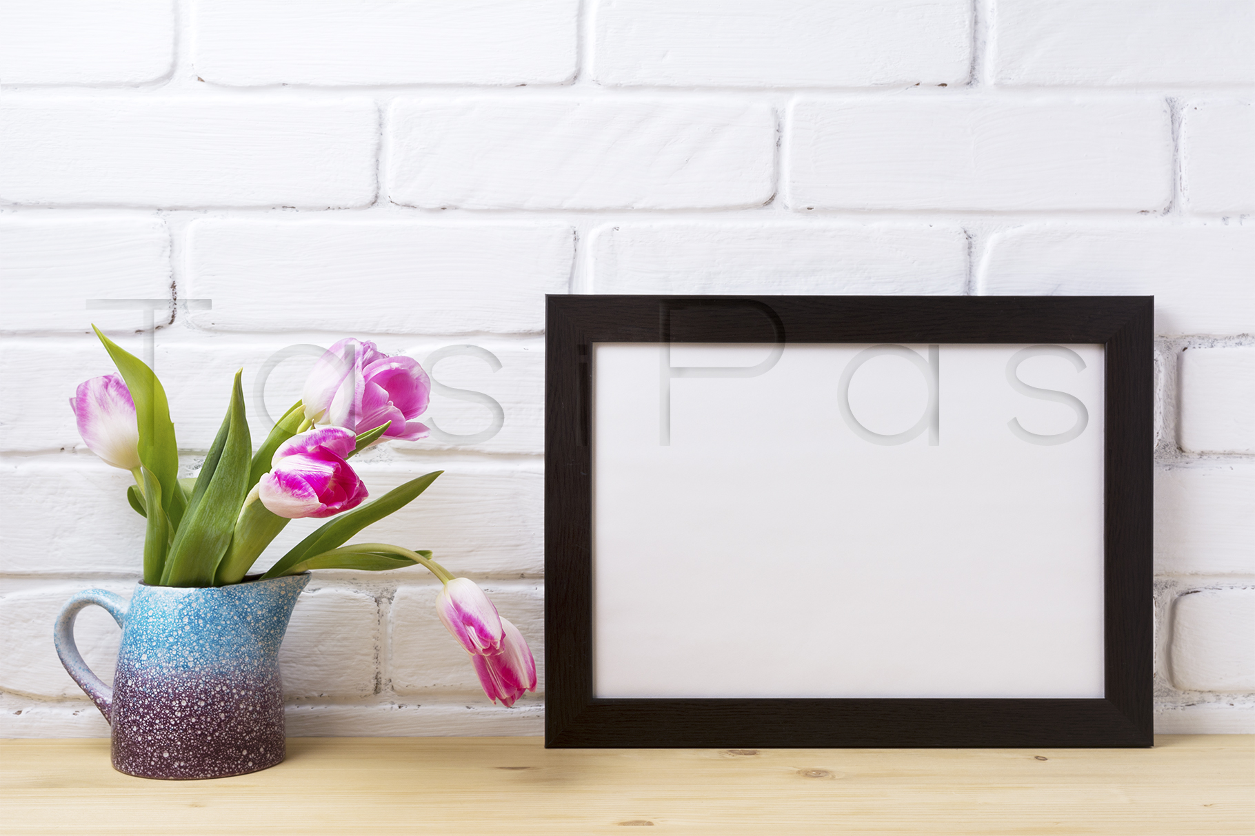 Download Free Black Frame Mockup With Pink Tulip Graphic By Tasipas Creative for Cricut Explore, Silhouette and other cutting machines.