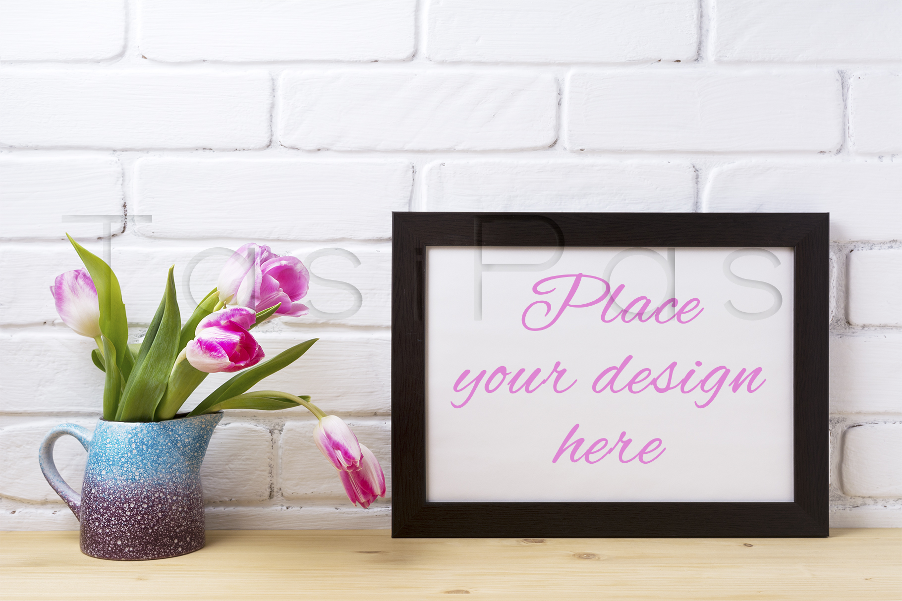 Print on Demand: Black Frame Mockup with Pink Tulip Graphic Product Mockups By TasiPas