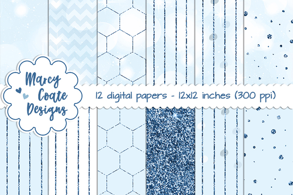 Blue Bokeh & Glitter Pattern Papers Graphic Backgrounds By MarcyCoateDesigns