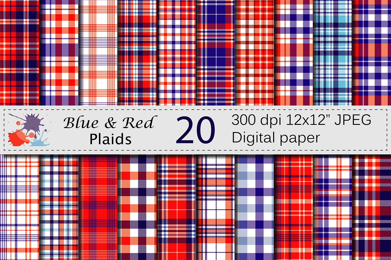 Blue and Red USA 4th of July Patriotic Plaid Digital Paper Pack / Independence Day Plaid Backgrounds Graphic Backgrounds By VR Digital Design