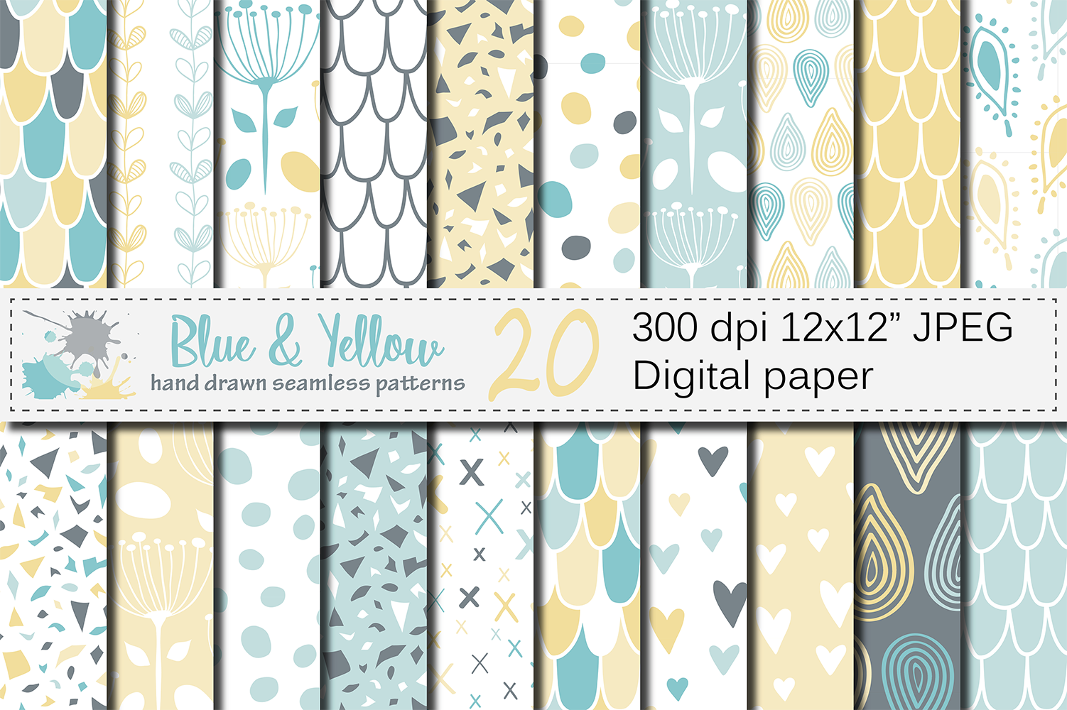Blue and Yellow Seamless Digital Paper Graphic Patterns By VR Digital Design