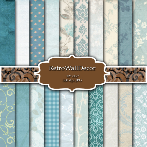 Print on Demand: Blue Digital Papers Graphic Backgrounds By retrowalldecor - Image 1