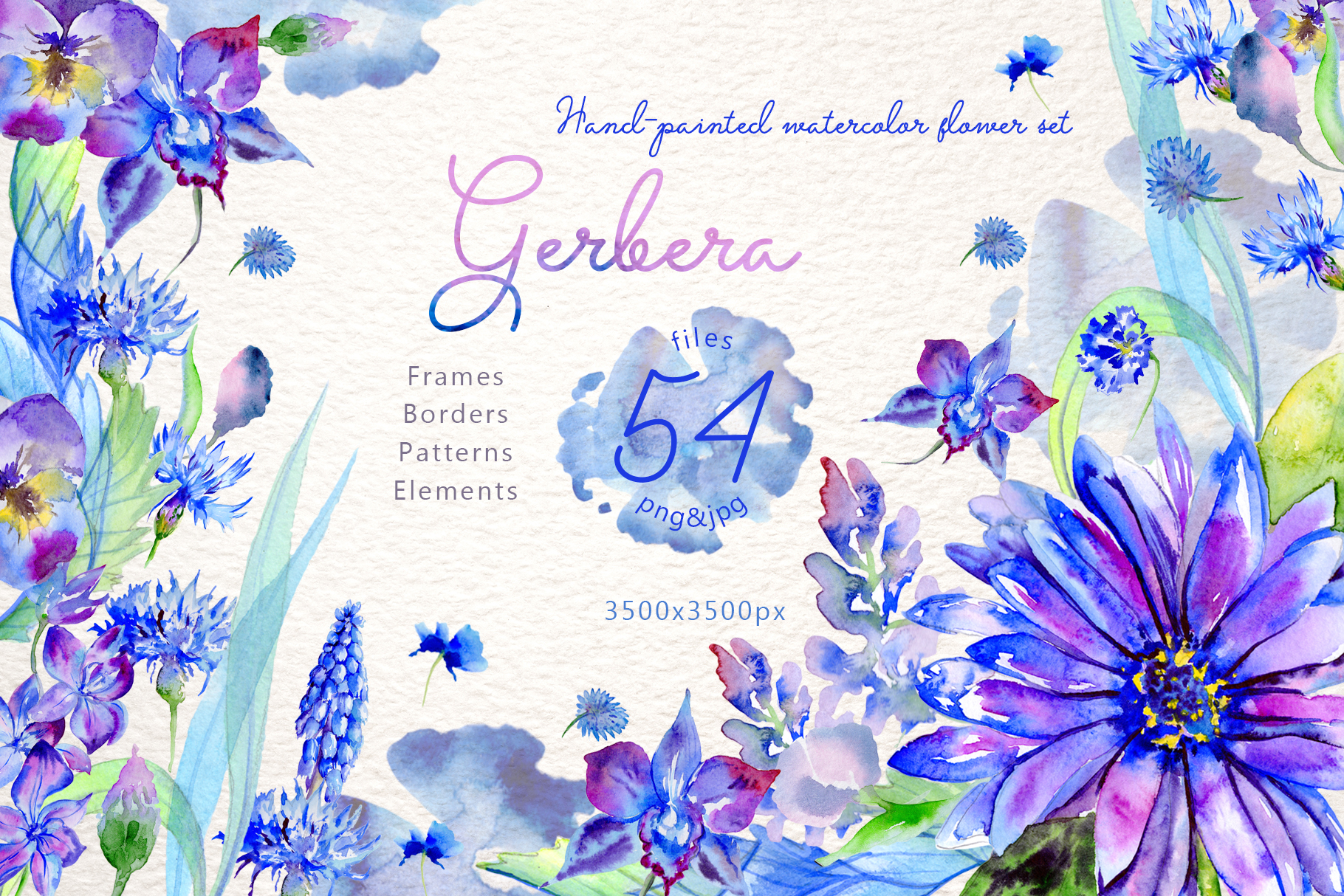 Download Free Blue Gerbera Watercolor Flower Set Graphic By Mystocks for Cricut Explore, Silhouette and other cutting machines.