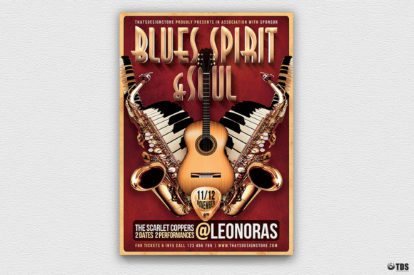 Blues and Soul Live Flyer Template Graphic Print Templates By ThatsDesignStore