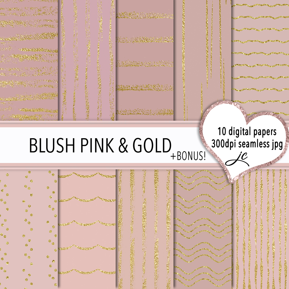 Print on Demand: Blush Pink and Gold Graphic Textures By JulieCampbellDesigns