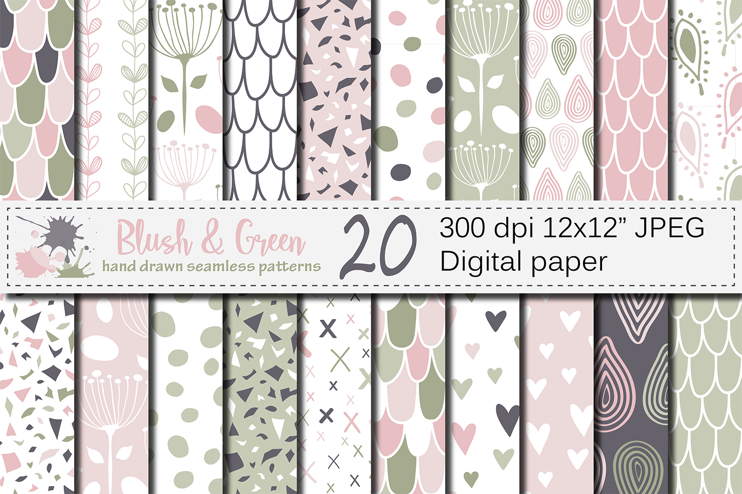 Blush Pink and Green Seamless Digital Paper Graphic Patterns By VR Digital Design
