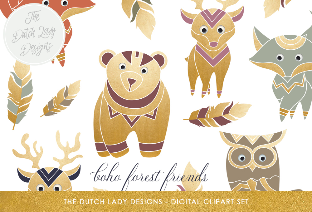 Download Free Boho Forest Friends Clipart Set Graphic By Daphnepopuliers for Cricut Explore, Silhouette and other cutting machines.