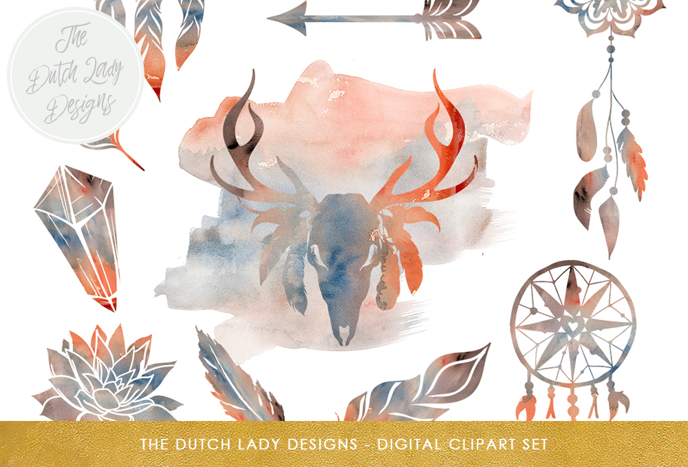 Print on Demand: Boho Sunset Prairie Clipart Set Graphic Illustrations By daphnepopuliers