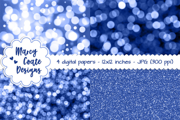 Bokeh & Glitter Backgrounds - Blue Graphic Patterns By MarcyCoateDesigns