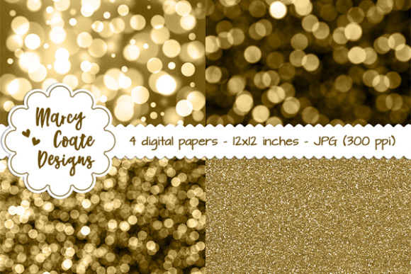 Bokeh & Glitter Backgrounds - Gold Graphic Patterns By MarcyCoateDesigns