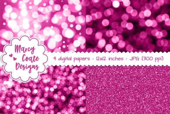 Bokeh & Glitter Backgrounds - Pink Graphic Patterns By MarcyCoateDesigns