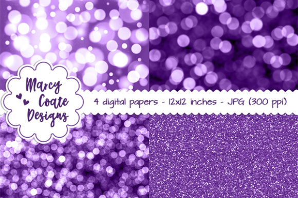 Bokeh & Glitter Backgrounds - Purple Graphic Patterns By MarcyCoateDesigns