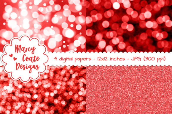 Bokeh & Glitter Backgrounds - Red Graphic Patterns By MarcyCoateDesigns
