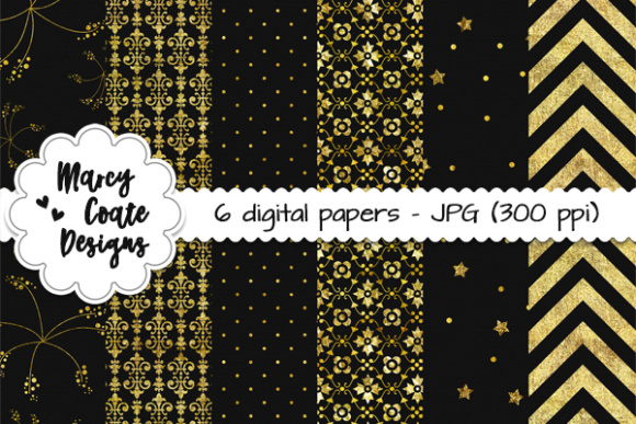 Bold & Gold Backgrounds - Black Graphic Patterns By MarcyCoateDesigns