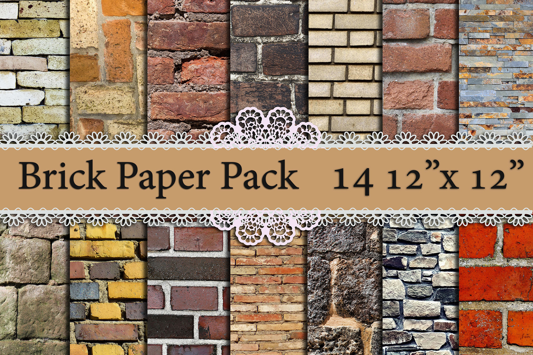 Brick Digital Paper: Graphic Backgrounds By prettydesignstudio