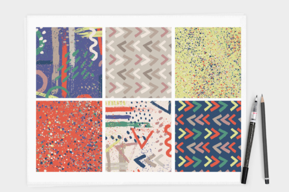Print on Demand: Brush Stroke Seamless Pattern Set - Ink Mark Papers Graphic Patterns By illuztrate