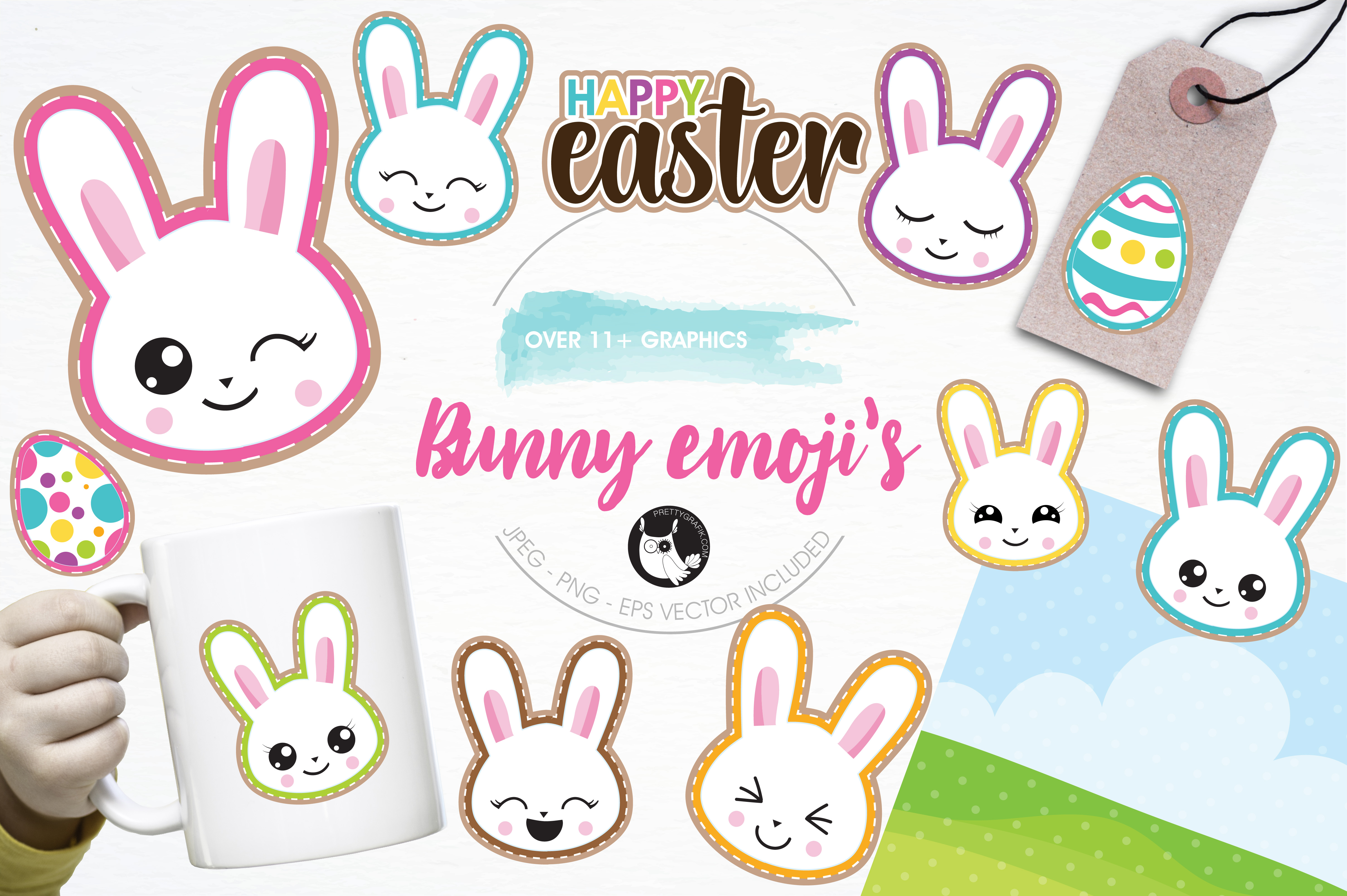 Download Free Cute Bunny Emoji S Graphic By Prettygrafik Creative Fabrica for Cricut Explore, Silhouette and other cutting machines.