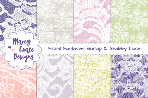 Burlap & Lace Backgrounds Graphic Patterns By MarcyCoateDesigns