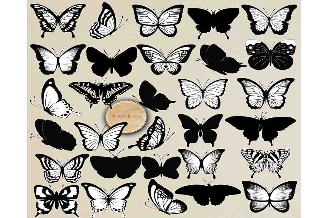 Download Free Butterfly Silhouette Graphic By Retrowalldecor Creative Fabrica for Cricut Explore, Silhouette and other cutting machines.