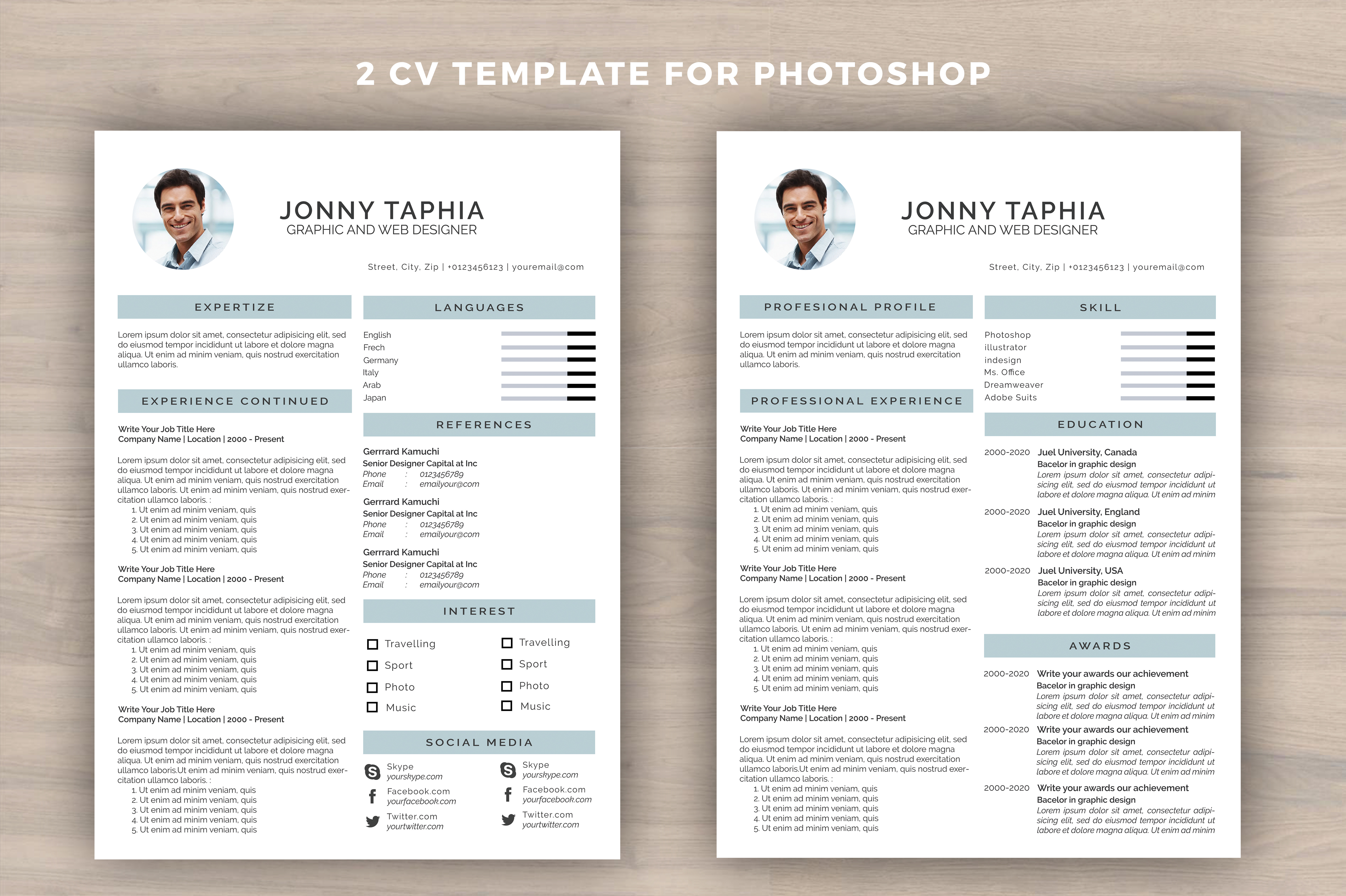 Print on Demand: CV/Resume Template for Photoshop Graphic Graphic Templates By utopiabrand19