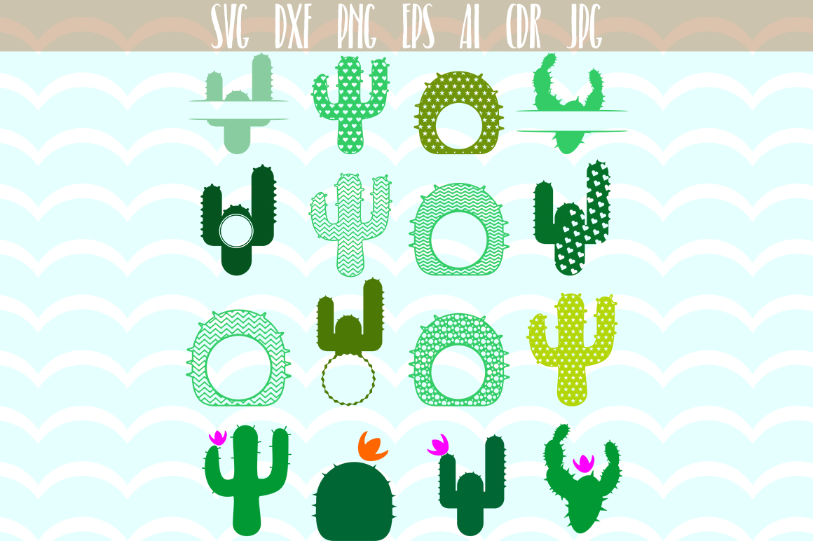 Download Free Cactus Monogram Frames Svg Cut Files Graphic By Vector City for Cricut Explore, Silhouette and other cutting machines.