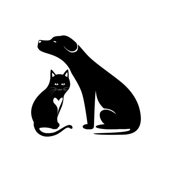 Print on Demand: Cat and Dog Silhouette Design Graphic Illustrations By sabavector