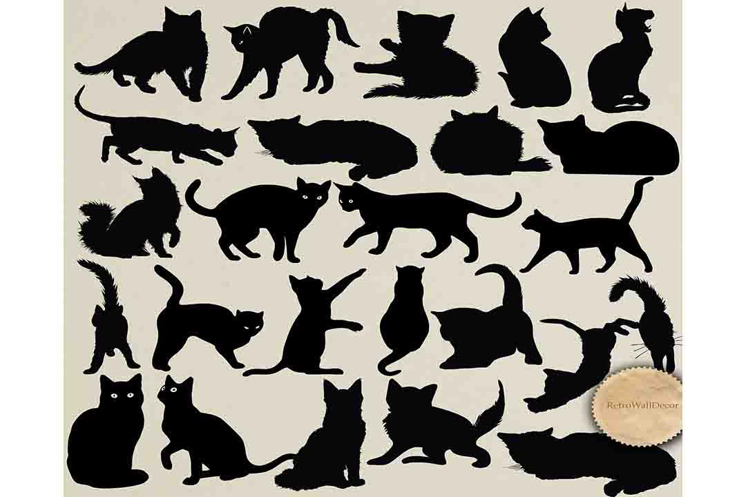 Download Free Cats Silhouettes Graphic By Retrowalldecor Creative Fabrica for Cricut Explore, Silhouette and other cutting machines.