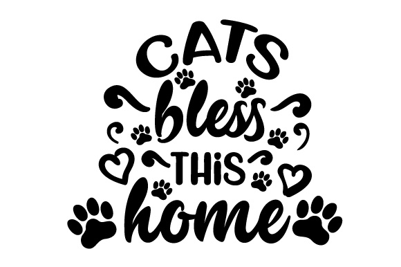 Download Free Cats Bless This Home Svg Cut File By Creative Fabrica Crafts for Cricut Explore, Silhouette and other cutting machines.