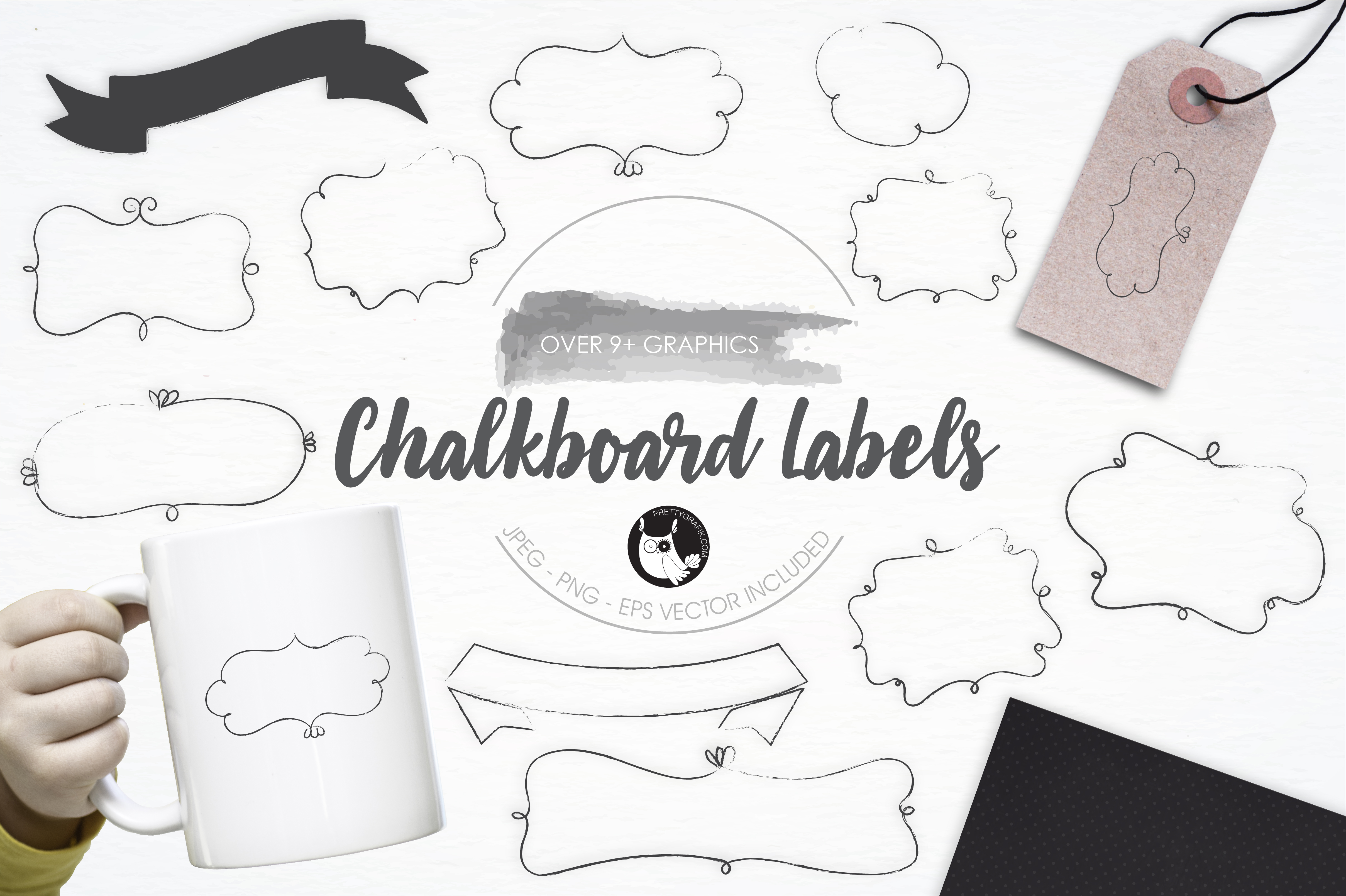 Print on Demand: Chalkboard Labels Graphic Illustrations By Prettygrafik