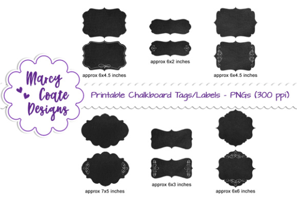 Chalkboard Tags & Labels Clipart Graphic Objects By MarcyCoateDesigns