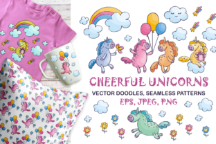 Cheerful Unicorns - Vector Doodles and Seamless Patterns Graphic By Olga Belova