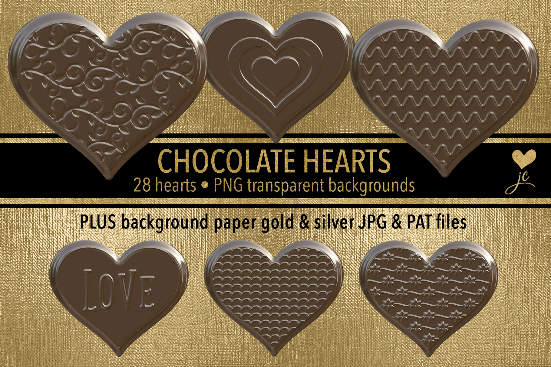 Print on Demand: Chocolate Hearts Clipart Set Graphic Objects By JulieCampbellDesigns