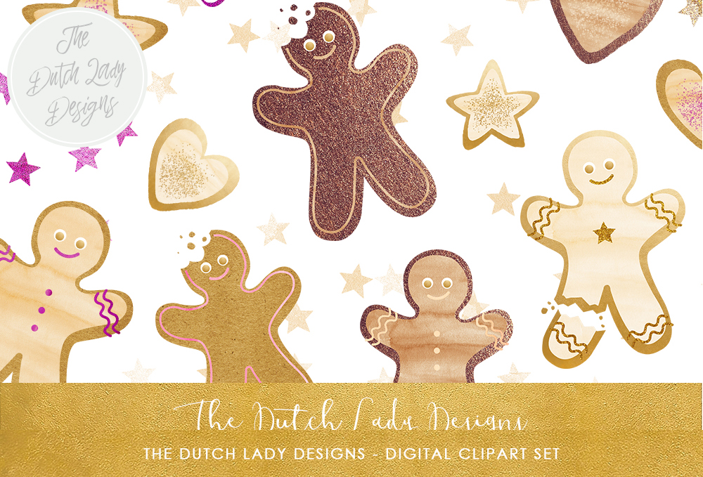 Print on Demand: Christmas Gingerbread Cookie Clipart Set Graphic Illustrations By daphnepopuliers