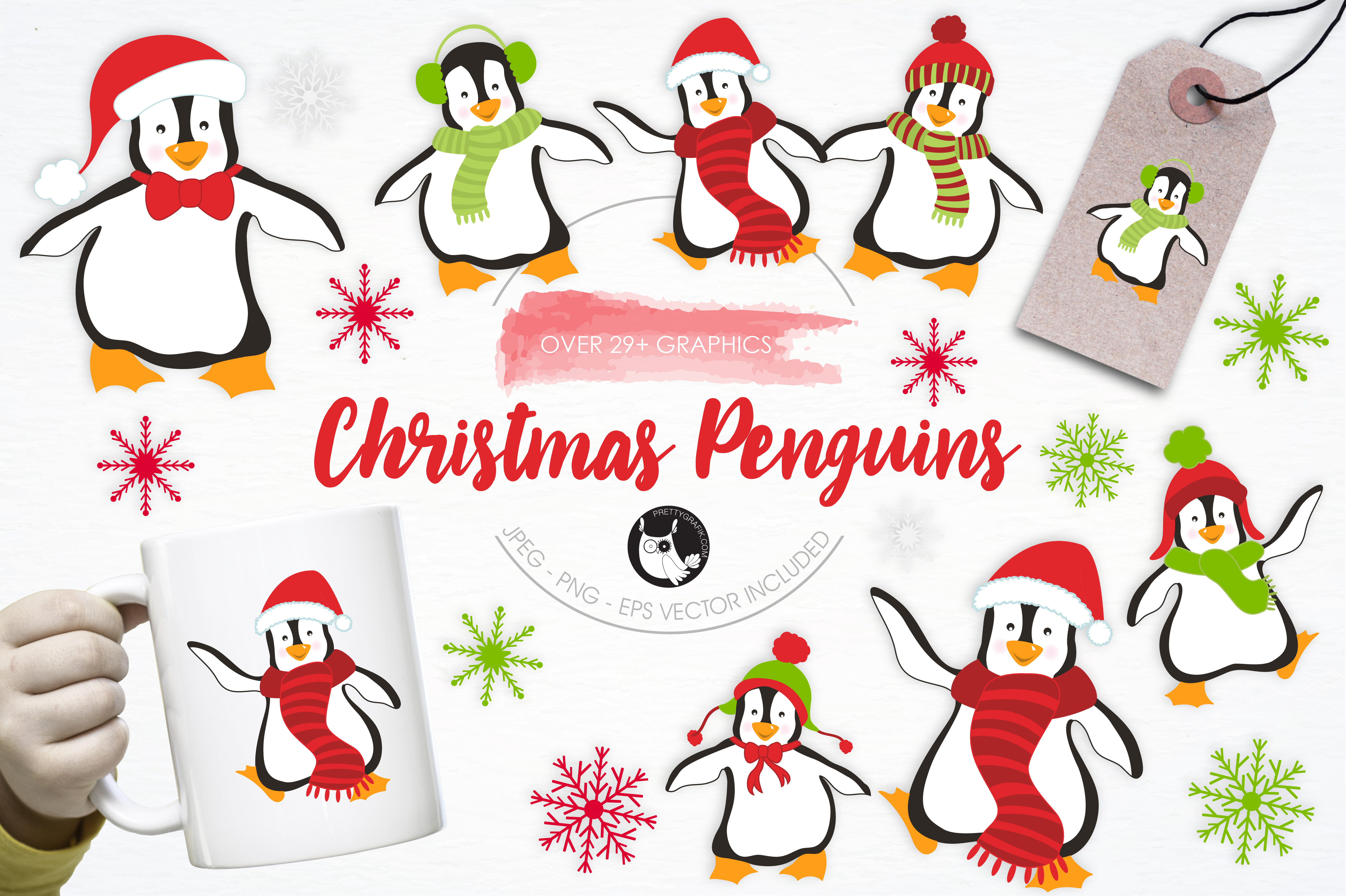 Download Free Christmas Penguins Graphic By Prettygrafik Creative Fabrica for Cricut Explore, Silhouette and other cutting machines.